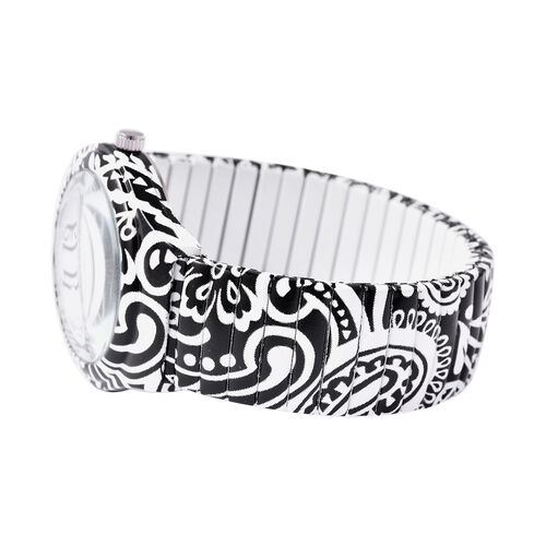 STRADA Japanese Movement Black and White Pattern Water Resistant Watch with Stretchable Strap (Size 6.5-7)