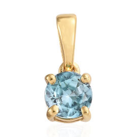 Blue Zircon (Rnd) Pendant in 14K Gold Overlay Sterling Silver 0.700  Ct.