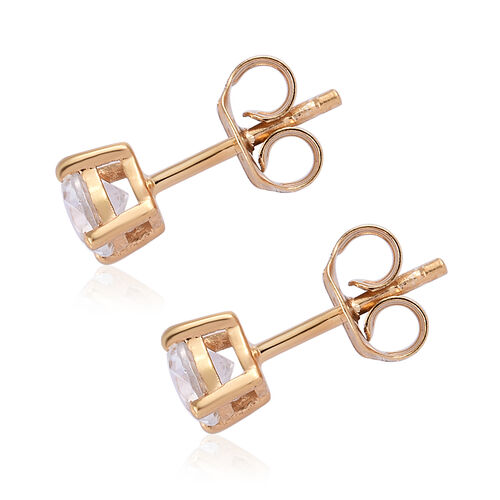 TLV Natural Cambodian Zircon (Rnd) Stud Earrings (with Push Back) in 14K Gold Overlay Sterling Silver 1.250 Ct.