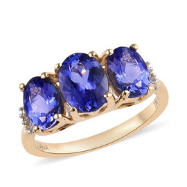 ILIANA 2.80 Ct AAA Tanzanite and Diamond Trilogy Ring in 18K Gold 3.10 Grams SI GH