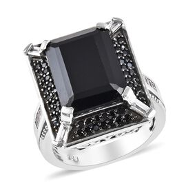 11 Carat Boi Ploi Black Spinel and Zircon Halo Ring in Platinum Plated Silver 7.05 grams