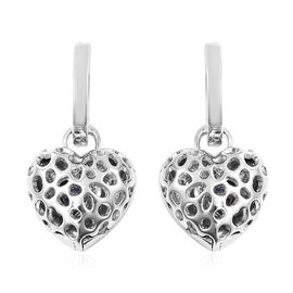 RACHEL GALLEY Angel Heart Collection - Tanzanite Lattice Heart Charm Hoop Earrings (with French Clip