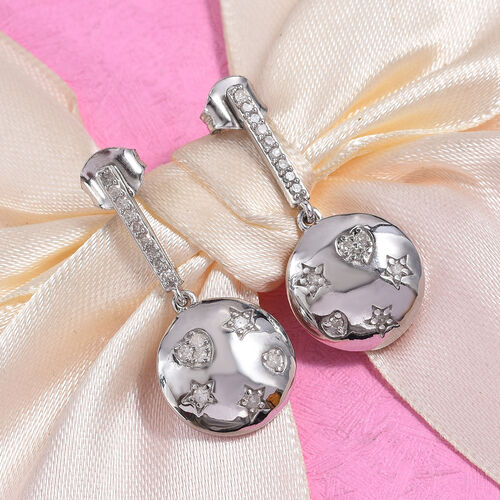 GP - Diamond (Rnd), Blue Sapphire Earrings (with Push Back) in Platinum Overlay Sterling Silver 0.33 Ct.