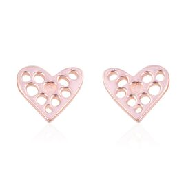 RACHEL GALLEY Lattice Angle Heart Earrings in Rose Gold Plated Sterling Silver