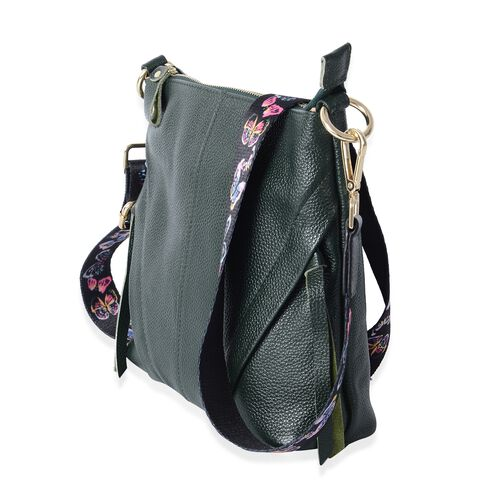 Super Soft 100% Genuine Leather Green Colour Cross Body Bag with Adjustable and Removable Butterfly Pattern Shoulder Strap (Size 23x22x7 Cm)