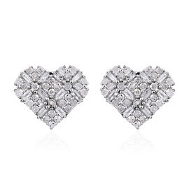 GP Diamond (Bgt and Rnd), Kanchanaburi Blue Sapphire Heart Stud Earrings (with Push Back) in Platinu