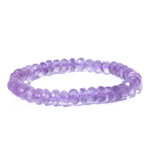 Rose De France Amethyst (Rnd) Stretchable Beads Bracelet (Size 7.5) 80.000 Ct.