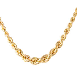 Italian Made 14K Gold Overlay Sterling Silver Rope Necklace (Size 20 with 2 inch Extender), Silver w
