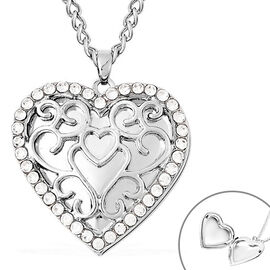 White Austrian Crystal Heart Locket Necklace (Size 20 with Extender) in Silver Tone