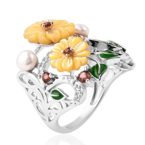 Jardin Collection - Yellow Mother of Pearl, Freshwater Pearl, Mozambique Garnet , Natural Cambodian Zircon Enamelled Floral Ring in Rhodium Overlay Sterling Silver, Silver wt 5.18 Gms