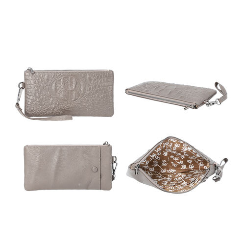 100% Genuine Leather RFID Protected Croc Embossed Wristlet (Size 20x10 Cm) - Grey