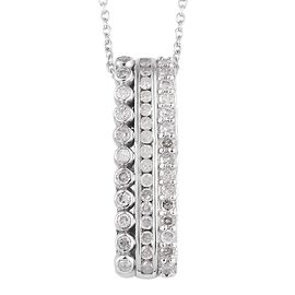 Diamond (Rnd) Pendant With Chain (Size 20) in Platinum Overlay Sterling Silver 0.40 Ct.