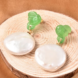 Carved Green Jade and Baroque White Pearl Earrings (with Push Back) in Yellow Gold Overlay Sterling Silver