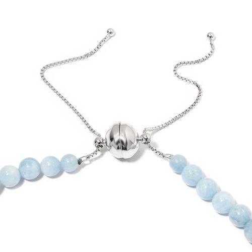 Espirito Santo Aquamarine (Rnd) Adjustable Graduated Necklace (Size 18 - 22) in Rhodium Overlay Sterling Silver 339.000 Ct.