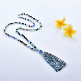 Multi Colour Beaded Necklace 32 Inch with Tassel