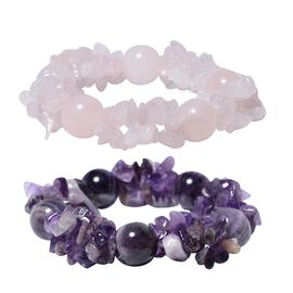 Set of 2 - Amethyst and Rose Quartz Stretchable Bracelet (Size 7) 504.00 Ct.