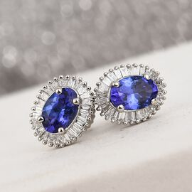 RHAPSODY 950 Platinum AAAA Tanzanite and Diamond Stud Earrings (with Screw Back) 1.25 Ct.