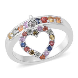 Rainbow Sapphire (Rnd) Ring with Heart Charm in Rhodium Plated Sterling Silver 0.640 Ct.