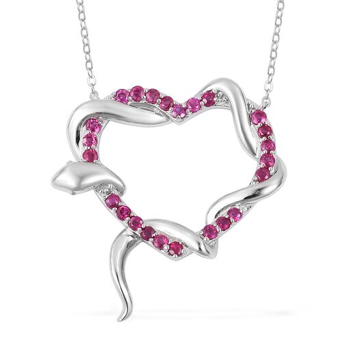 Designer Inspired-Burmese Ruby (Rnd) Immortal Love Necklace (Size 18) in Rhodium Plated Sterling Sil