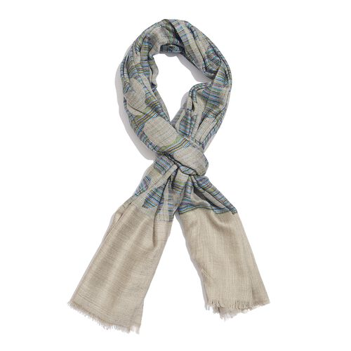 100% Cashmere Wool Beige, Blue and Multi Colour Circle Pattern Scarf with Fringes L200x W70 Cm