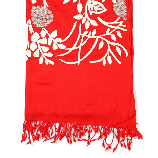 100% Merino Wool Kashmiri  Hand Embroidery (Wool and Silver Thread) Heavy Weight Scarf (Size 195x70 Cm) - Red - Upto 400 Gms