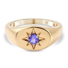 Tanzanite Star Signet Ring in 14K Gold Overlay Sterling Silver