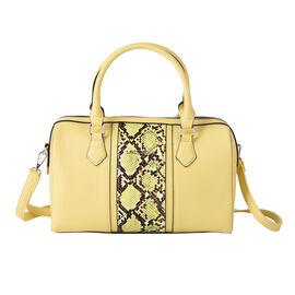 LOCK SOUL Snake Pattern Convertible Bag with Shoulder Strap (Size 30x18x14Cm) - Yellow