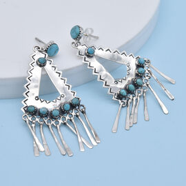 Santa Fe Collection - Turquoise Earrings (With Push Back) in Rhodium Overlay Sterling Silver