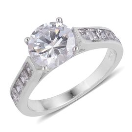 ELANZA Simulated White Diamond Ring in Rhodium Plated Sterling Silver