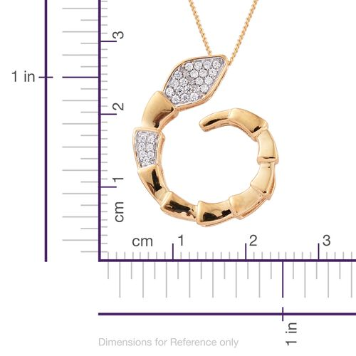 J Francis - 14K Gold Overlay Sterling Silver (Rnd) Snake Pendant With Chain Made with SWAROVSKI ZIRCONIA