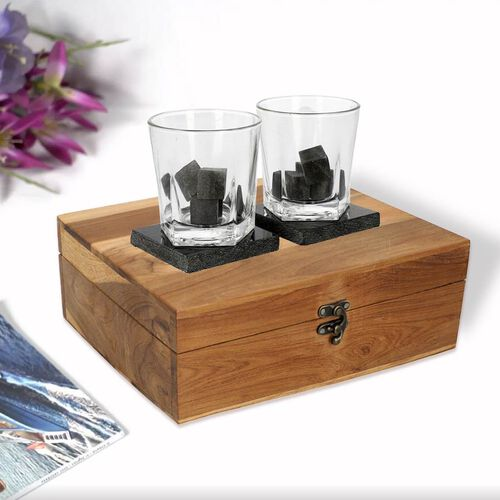 Set Of 2 Whiskey Glasses, Coasters, Chilling Stones & Pair Of Tongs in Wooden Gift Box
