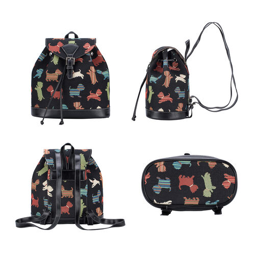 Signare Tapestry - 2 Piece Set - Puppy Design Backpack and FREE Mackintosh Simple Rose Zip Coin Purse - Black and Multi