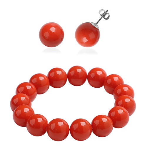 2 Piece Set - Living Coral Colour Shell Pearl Beaded Stretchable Bracelet (Size 7) and Earrings (wit