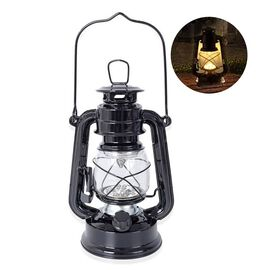 Black - Vintage LED Hurricane Lantern with Dimmer Switch (Size 19 Cm) (4xAA  Battery not Included)