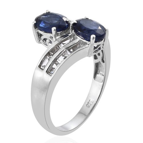 Masoala Sapphire (Ovl), White Topaz Ring in Platinum Overlay Sterling Silver 3.750 Ct.