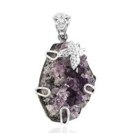 Amethyst Geode Pendant in Sterling Silver 50.00 Ct.