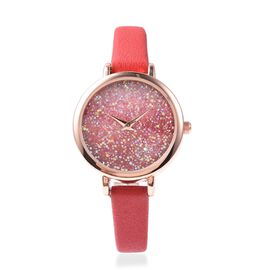 GENOA Japanese Movement Water Resistant Watch with AB Swarovski Crystals in Rose Gold Tone with Red