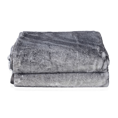 Super Soft Printed Faux Fur with Mink Blanket (Size 200x150 Cm) - Colour Grey