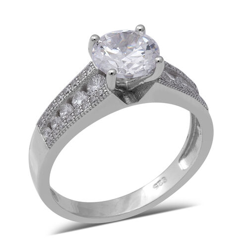 ELANZA Simulated Diamond Solitaire Design Ring in Rhodium Plated Sterling Silver