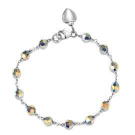 J Francis - Crystal from Swarovski - Aurore Borealis Crystal Sterling Silver Bracelet (Size 7.5)