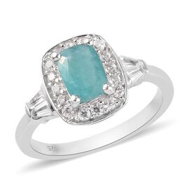 Grandidierite and Natural Cambodian Zircon Ring in Platinum Overlay Sterling Silver 1.49 Ct.