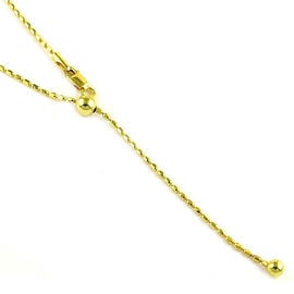 Adjustable Bead Slider Chain in 14K Gold Plated Sterling Silver 24 Inch