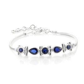 One Time Deal - Hand Made Blue Sapphire Bracelet (Size 7 with 1.5 inch Extender) in Sterling Silver 3.590 Ct, Silver wt 9.89 Gms.