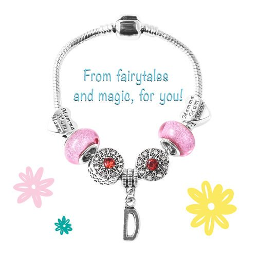 D Initial Charm Bracelet for Children in Simulated Pink Colour Bead, Red and White Austrian Crystal Size 6.5 Inch in Silver Tone
