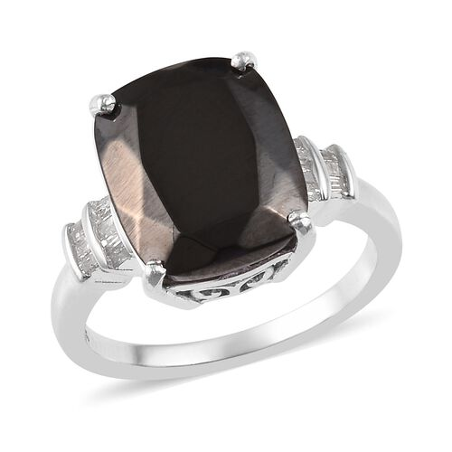3.50 Ct Elite Shungite and Diamond Classic Ring in Platinum Plated Sterling Silver
