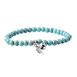 Blue Howlite (Rnd) Stretchable Beads Bracelet (Size 7) with Charm in Antique Silver Plated 40.00 Ct.