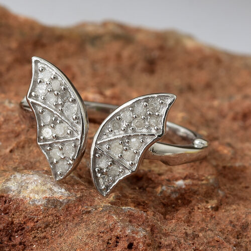 Diamond (Rnd) Bat Ring in Platinum Overlay Sterling Silver 0.200 Ct.