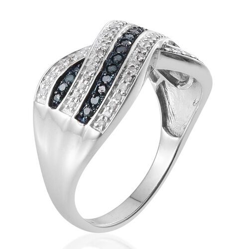 Blue diamond (0.25 Ct) and Diamond Platinum Overlay Sterling Silver Ring  0.500  Ct.
