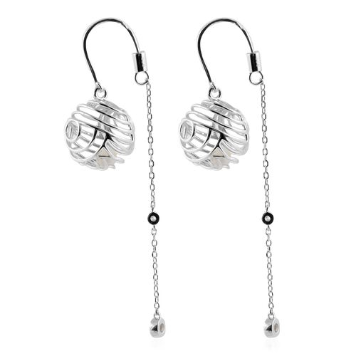 Isabella Liu - Sea Rhyme Collection - White Mother of Pearl (Rnd), Natural White Cambodian Zircon Earrings in Rhodium Overlay Sterling Silver