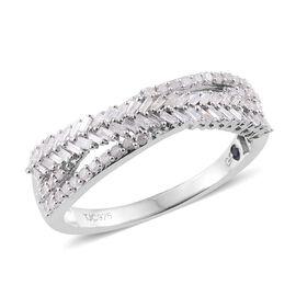 GP Diamond (Bgt), Kanchanaburi Blue Sapphire Criss Cross Ring in Platinum Overlay Sterling Silver 0.530 Ct.